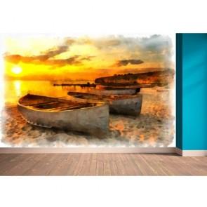 Suluboya Sahil Manzarası Duvar Kağıdı Önizleme