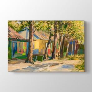 Renkli Bahçenin Tablosu - Yağlı Boya Duvar Dekoru Kanvas Tablo