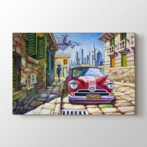Klasik Araba - Yağlı Boya Resimli Kanvas Tablo Modeli