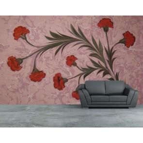 Çiçekler Ebru Sanatı 3 Boyutlu Resimli Duvar Kağıdı