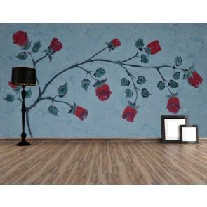Güller Ebru Sanatı 3 Boyutlu Resimli Duvar Kağıdı