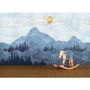 Sanatsal Dağ Manzarası - 3 Boyutlu Duvar Kağıdı Uygulama
