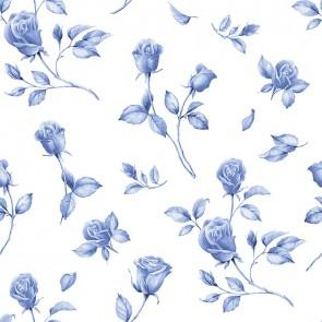 Mavili Çiçek Deseni