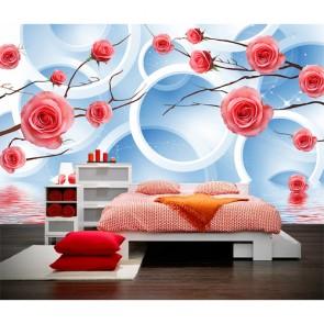 Güller ve Daireler - 3 Boyutlu Salon Duvar Kağıdı Uygulama