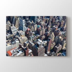 Kuş Bakışı Manhattan - Şehir Duvar Dekoru Kanvas Tablo