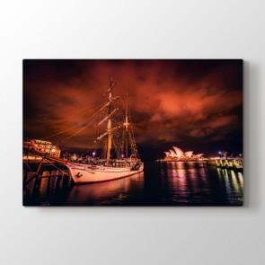 Sydney Gecesi - Şehir Duvar Dekor Kanvas Tablo