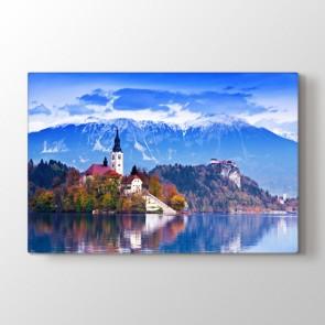 Bled Gölü Slovenya - Şehir Kanvas Tablosu