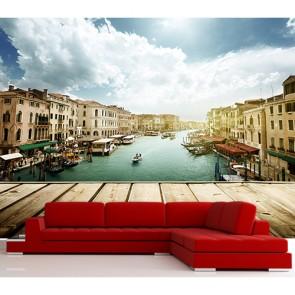 Terastan Venedik Manzarası - Resimli İthal Duvar Kağıtları