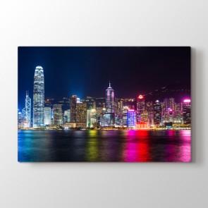 Renkli Gece - Şehir Dekoratif Duvar Tablosu
