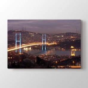 Işıl Işıl Boğaz Köprüsü - Şehir Kanvas Tablo Modeli