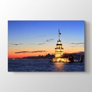 Sahilden Kız Kulesi - Şehir Resimli Kanvas Tablo Modeli