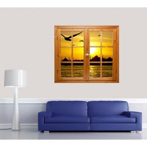 İstanbul Manzaralı Pencere Duvar Resmi Önizleme