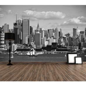 Siyah Beyaz Şehir Manzarası - 3D Duvar Kağıdı