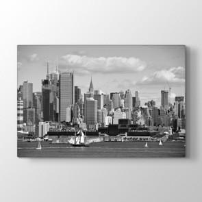 Siyah Beyaz Şehir Manzarası - Siyah Beyaz Kanvas Tablo Modeli