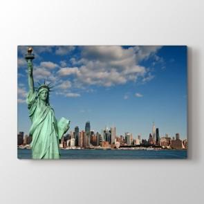 Özgürlük Heykeli - Şehir Duvar Dekoru Kanvas Tablo