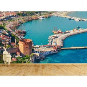 Alanya Marina ve Kızıl Kule Resimli Duvar Kağıdı