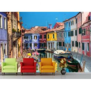 Renkli Venedik Evleri Şehir Manzara Duvar Kağıdı
