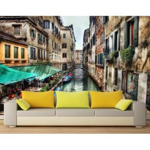 Venedik Işıltısı 3 Boyutlu Şehir Manzarası Duvar Kağıdı