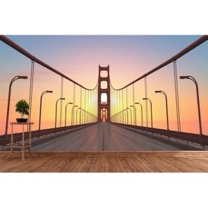 Köprünün Üstünde 3 Boyutlu Manzara Duvar Kağıdı Modeli