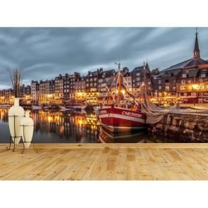 Avrupa Honfleur Marinası - 3D Duvar Kağıdı