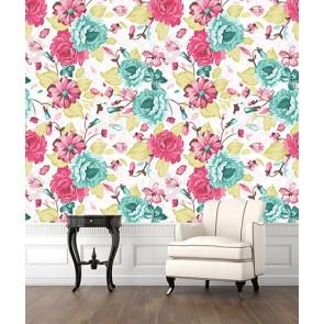 Turkuaz Pembe Çiçek Desenleri 3 Boyutlu Çiçek Desenli Çiçekli Duvar Kağıdı