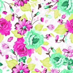 Turkuaz Pembe Çiçek Desenleri