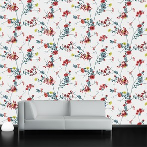 Çiçekli Dallar 3 Boyutlu Çiçek Desenli Çiçekli Duvar Kağıdı