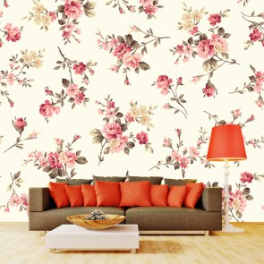 Retro Çiçekler 3 Boyutlu Çiçek Desenli Çiçekli Duvar Kağıdı