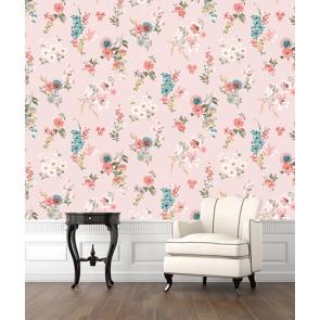 Pembe Çiçekli Duvar 3 Boyutlu Çiçek Desenli Çiçekli Duvar Kağıdı