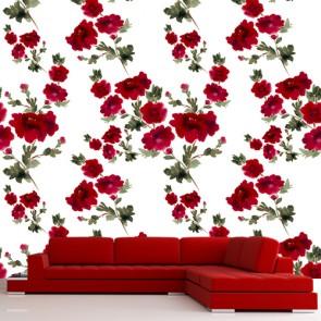 Gül Kırmızısı 3 Boyutlu Çiçek Desenli Çiçekli Duvar Kağıdı
