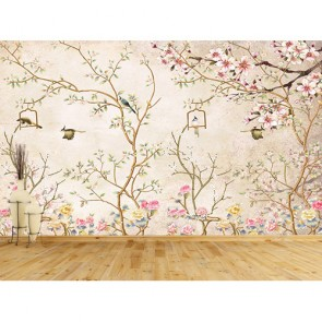 Kuşlar ve Çiçekler - 3D Duvar Kağıdı Uygulama