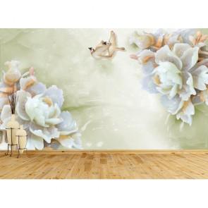 Çiçek Dekoru - Çiçekli 3D Duvar Kağıdı Uygulama