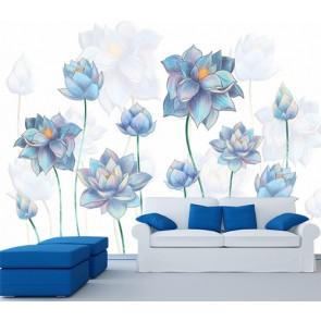 Salon Çiçekleri - 3D Salon Duvar Kağıdı Uygulama