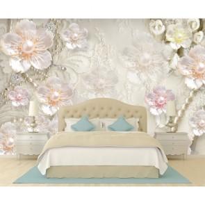 3 Boyutlu Çiçekler - Oturma Odası Duvar Kağıdı Uygulama