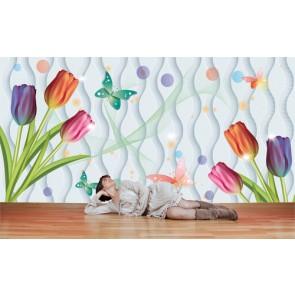 Çocuk Odası Çiçekleri - 3D Duvar Kağıdı Uygulama