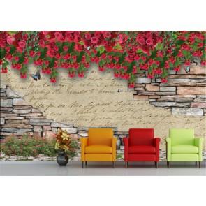 Çiçekli Duvar - 3D Duvar Kağıdı Uygulama
