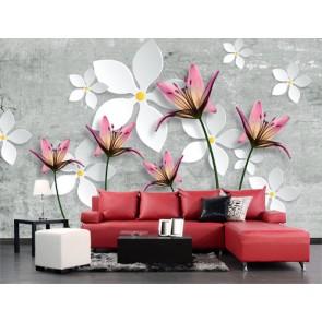 Betonda Çiçekler - 3D Duvar Kağıdı Uygulama