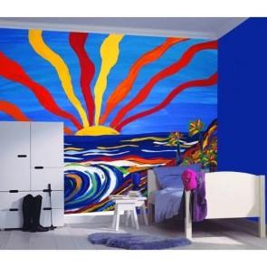 Güneşin Renkleri Çocuk Odası Duvar Kağıdı Uygulama