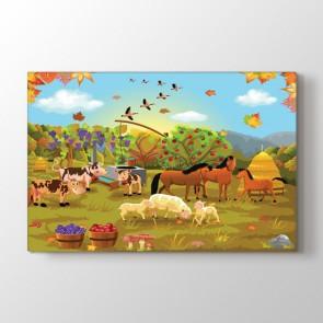 Çiftlik Hayatı - Vahşi Yaşam Duvar Dekoru Kanvas Tablo