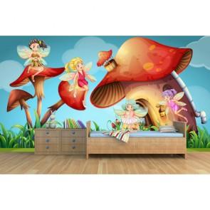 Perilerin Dünyası Çocuk Odası 3 Boyutlu Duvar Kağıtları