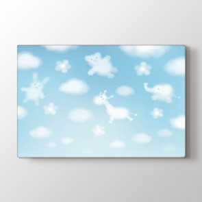 Sevimli Bulutlar Tablosu | Bebek Odası Tabloları
