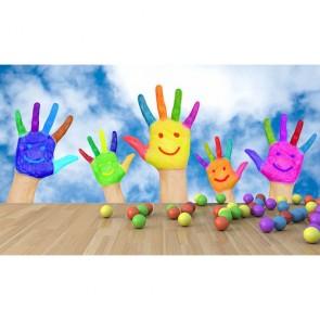 Boyalı Eller - Kreş Duvar Kağıdı Modeli