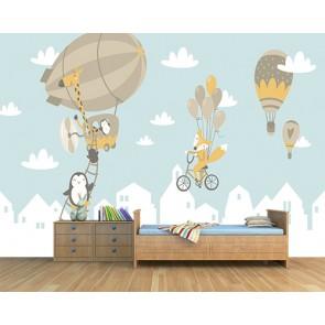 Balon Seyahati - Bebek Odası 3 Boyutlu Duvar Kağıdı Modeli Uygulama