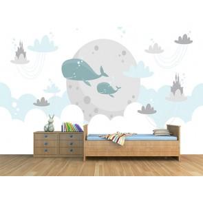 Balinalar Diyarı - Cocuk Odası 3 Boyutlu Duvar Kağıdı Uygulama
