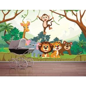 Küçük Dostlar - Bebek Odası 3 Boyutlu Duvar Kağıdı Modeli Uygulama