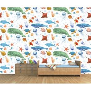 Deniz Canlıları - Çocuk Odası 3 Boyutlu Duvar Kağıdı Uygulama