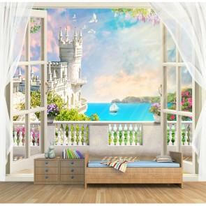 Pencereden Masal Şatosu - Pencere Resimli Duvar Kağıdı Uygulama