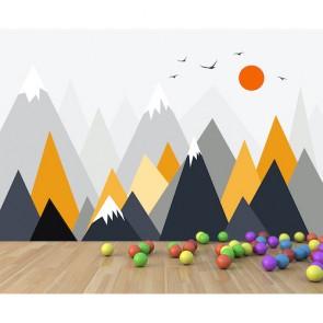 Dağlar ve Güneş - Çocuk Odası Duvar Kağıdı Uygulama