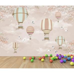 Balon ve Leylekler - 3 Boyutlu Çocuk Odası Duvar Kağıdı Uygulama