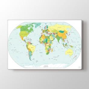 Siyasi Dünya Hariası Tablosu - Kanvas Tablo